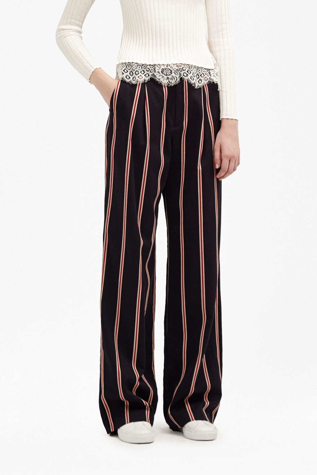 Freddy Stripe Coord Wide Leg Trousers Indigo/Cream/Red - length: standard; pattern: vertical stripes; waist: mid/regular rise; secondary colour: true red; predominant colour: black; occasions: casual, creative work; fibres: polyester/polyamide - 100%; texture group: crepes; fit: wide leg; pattern type: fabric; style: standard; season: a/w 2016; wardrobe: highlight