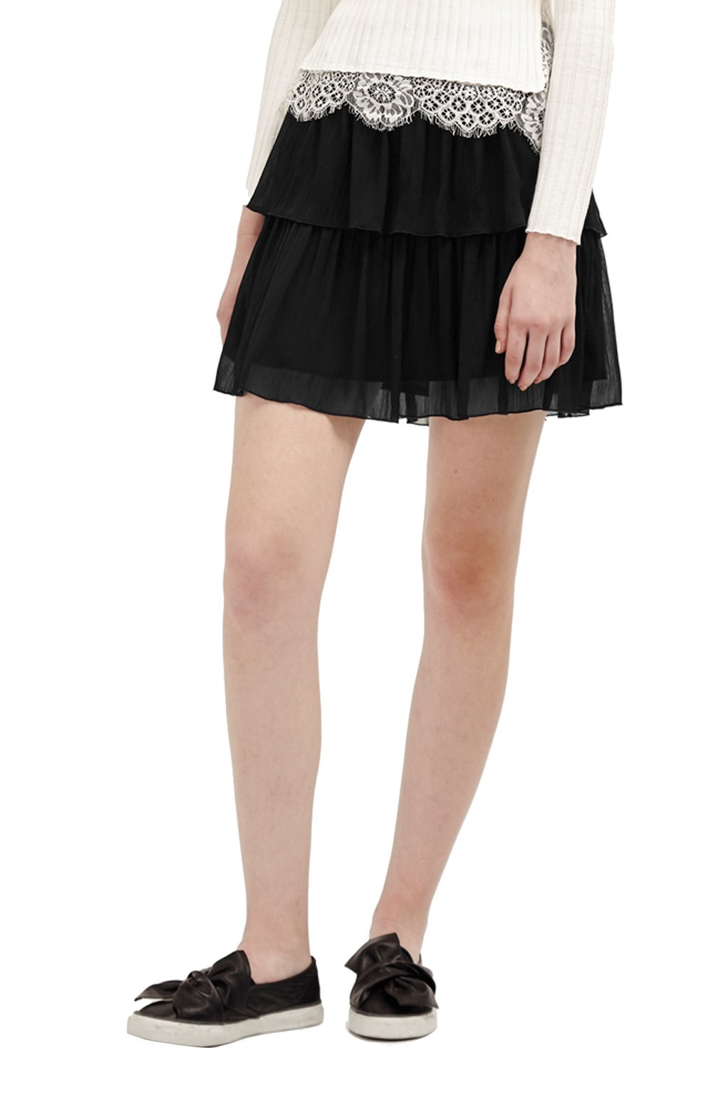 Lizzie Sheer Tiered Skirt Black - length: mini; pattern: plain; fit: loose/voluminous; style: tiered; waist: mid/regular rise; predominant colour: black; fibres: polyester/polyamide - 100%; hip detail: adds bulk at the hips; texture group: sheer fabrics/chiffon/organza etc.; pattern type: fabric; occasions: creative work; wardrobe: basic; season: a/w 2016