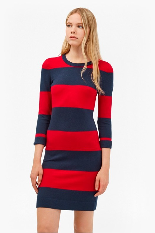 Rugby Stripe Bambi Dress Black/Charcoal Mel - fit: tight; pattern: horizontal stripes; style: bodycon; predominant colour: true red; secondary colour: navy; occasions: casual; length: just above the knee; fibres: viscose/rayon - stretch; neckline: crew; sleeve length: 3/4 length; sleeve style: standard; texture group: jersey - clingy; pattern type: fabric; multicoloured: multicoloured; season: a/w 2016; wardrobe: highlight