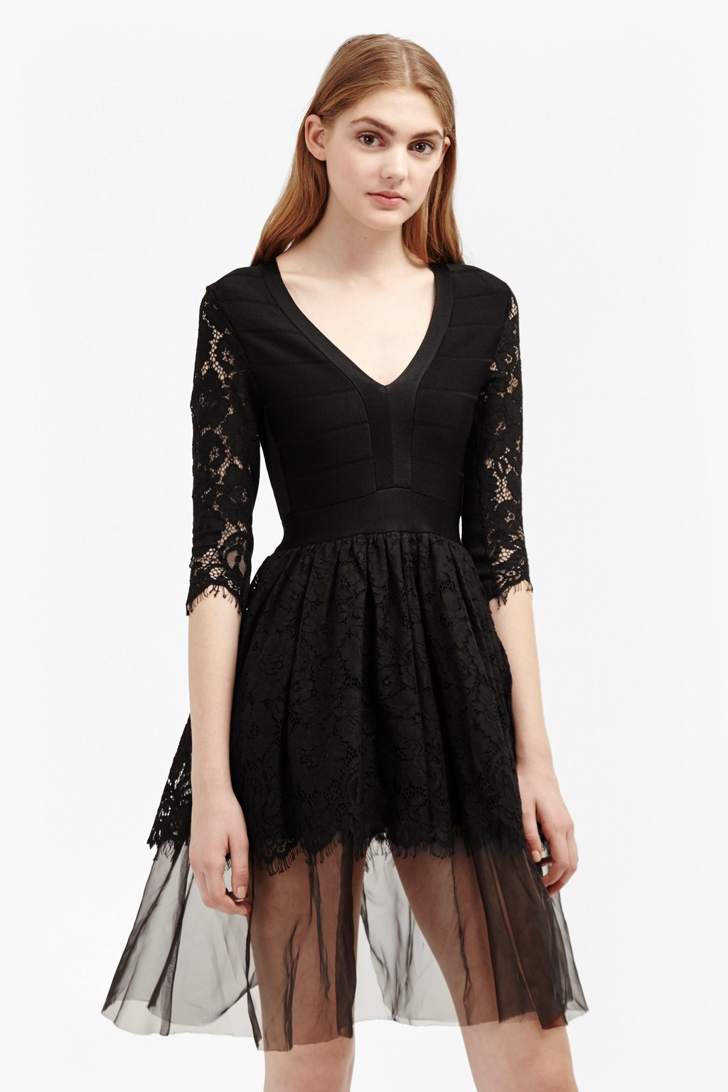 Spotlight Lace Tulle Mix Dress Black - neckline: v-neck; pattern: plain; style: full skirt; predominant colour: black; occasions: evening; length: just above the knee; fit: fitted at waist & bust; fibres: viscose/rayon - stretch; sleeve length: 3/4 length; sleeve style: standard; texture group: lace; pattern type: fabric; season: a/w 2016; wardrobe: event