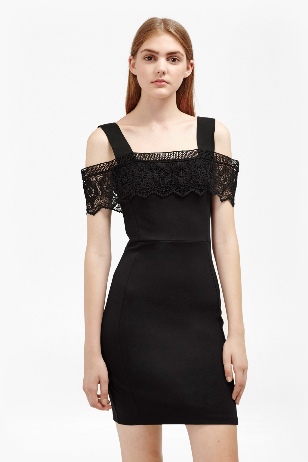 Petra Lace Beau Cold Shoulder Dress Black - length: mini; fit: tight; pattern: plain; style: bodycon; predominant colour: black; occasions: evening; fibres: viscose/rayon - stretch; shoulder detail: cut out shoulder; sleeve length: short sleeve; sleeve style: standard; texture group: jersey - clingy; neckline: medium square neck; pattern type: fabric; embellishment: lace; season: a/w 2016; wardrobe: event