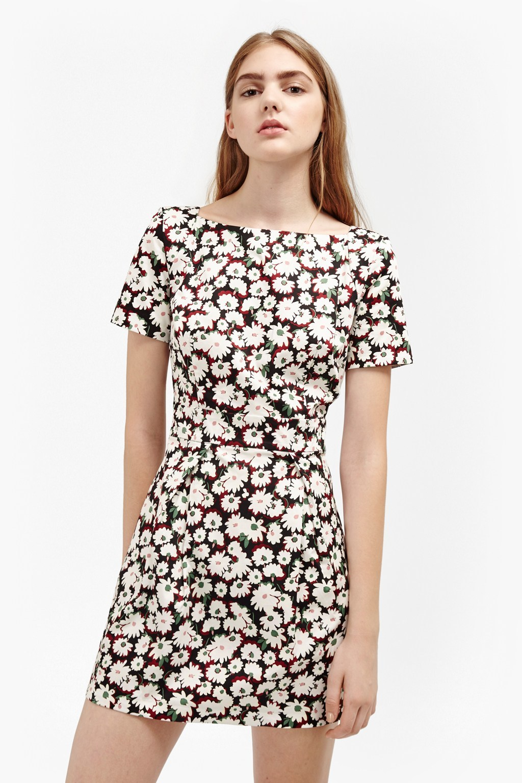 Bloomsbury Daisy Cotton Dress Brule Multi - style: shift; length: mini; neckline: round neck; secondary colour: ivory/cream; predominant colour: black; occasions: casual; fit: body skimming; fibres: cotton - 100%; sleeve length: short sleeve; sleeve style: standard; texture group: cotton feel fabrics; pattern type: fabric; pattern: patterned/print; multicoloured: multicoloured; season: a/w 2016; wardrobe: highlight