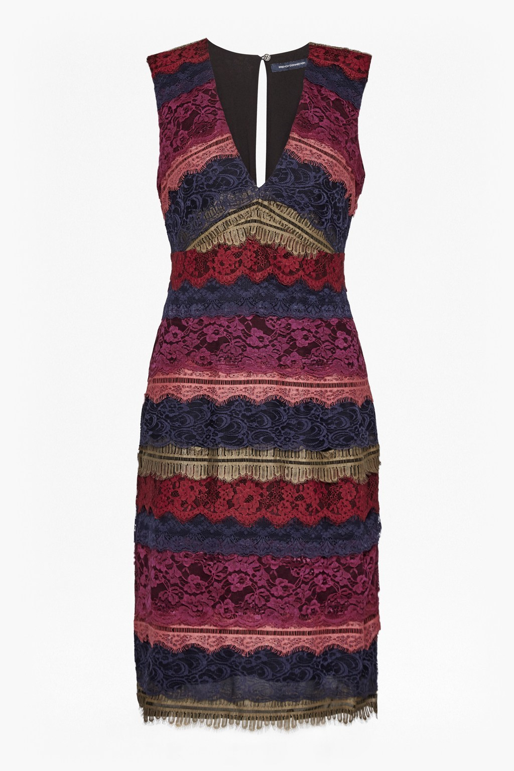 Dallaway Stripe Lace Pencil Dress Zinfandel Multi - style: shift; neckline: v-neck; fit: tailored/fitted; pattern: horizontal stripes; sleeve style: sleeveless; predominant colour: burgundy; secondary colour: navy; occasions: evening; length: on the knee; fibres: polyester/polyamide - 100%; sleeve length: sleeveless; texture group: lace; pattern type: fabric; multicoloured: multicoloured; season: a/w 2016; wardrobe: event
