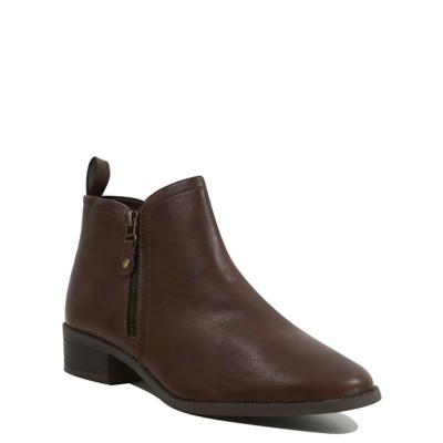 Faux Leather Ankle Boots Tan - predominant colour: chocolate brown; occasions: casual; material: faux leather; heel height: flat; heel: block; toe: pointed toe; boot length: ankle boot; style: standard; finish: plain; pattern: plain; wardrobe: basic; season: a/w 2016