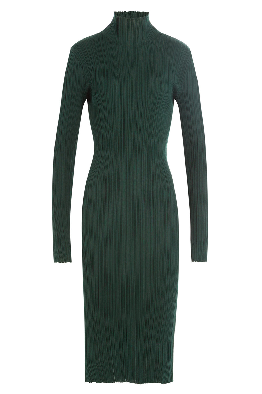 Wool Silk Turtleneck Dress - style: jumper dress; length: calf length; pattern: plain; neckline: roll neck; predominant colour: dark green; occasions: evening; fit: body skimming; fibres: wool - mix; sleeve length: long sleeve; sleeve style: standard; pattern type: fabric; texture group: other - light to midweight; season: a/w 2016; wardrobe: event