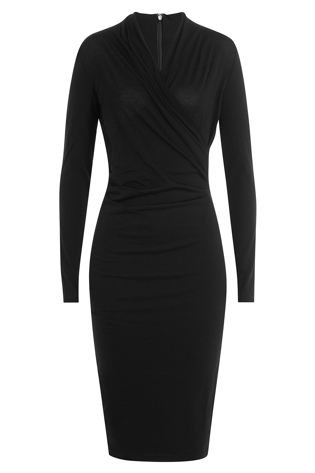Virgin Wool Dress - style: faux wrap/wrap; neckline: v-neck; pattern: plain; predominant colour: black; occasions: evening; length: on the knee; fit: body skimming; fibres: wool - 100%; sleeve length: long sleeve; sleeve style: standard; pattern type: fabric; texture group: jersey - stretchy/drapey; season: a/w 2016; wardrobe: event