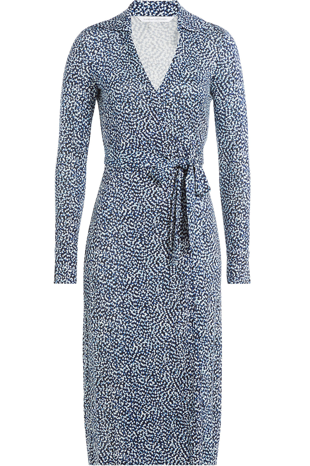 Printed Silk Wrap Dress Blue - style: faux wrap/wrap; neckline: shirt collar/peter pan/zip with opening; waist detail: belted waist/tie at waist/drawstring; predominant colour: denim; occasions: casual, work, creative work; length: on the knee; fit: body skimming; fibres: silk - 100%; sleeve length: long sleeve; sleeve style: standard; pattern type: fabric; pattern: patterned/print; texture group: jersey - stretchy/drapey; season: a/w 2016; wardrobe: highlight