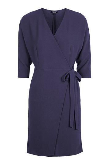 Batwing Wrap Dress - style: faux wrap/wrap; length: mid thigh; neckline: v-neck; fit: tailored/fitted; pattern: plain; waist detail: belted waist/tie at waist/drawstring; predominant colour: navy; occasions: evening, work, creative work; fibres: polyester/polyamide - stretch; sleeve length: 3/4 length; sleeve style: standard; texture group: crepes; pattern type: fabric; trends: chic girl, glossy girl; season: s/s 2016