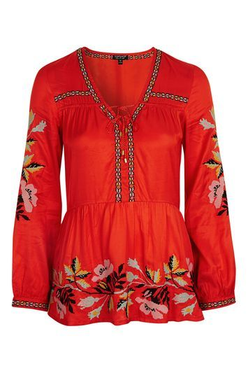 Embroidered Smock Top - neckline: low v-neck; style: smock; predominant colour: true red; secondary colour: yellow; occasions: casual; length: standard; fibres: cotton - 100%; fit: loose; sleeve length: long sleeve; sleeve style: standard; texture group: cotton feel fabrics; pattern type: fabric; pattern: patterned/print; embellishment: embroidered; trends: pretty girl; season: a/w 2016; wardrobe: highlight