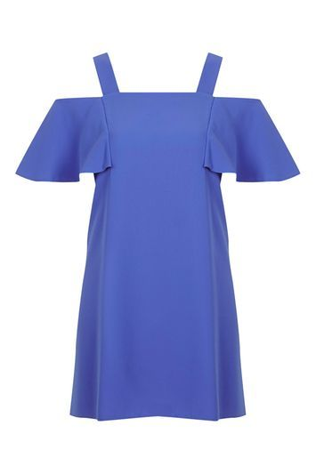Tall Cold Shoulder Bardot Dress - style: smock; length: mid thigh; sleeve style: capped; fit: loose; pattern: plain; predominant colour: royal blue; occasions: casual, evening; fibres: polyester/polyamide - 100%; sleeve length: short sleeve; neckline: medium square neck; pattern type: fabric; texture group: other - light to midweight; trends: pretty girl; season: a/w 2016; wardrobe: highlight