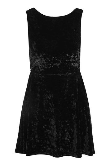 Low Back Velvet Skater Dress - length: mini; neckline: round neck; pattern: plain; sleeve style: sleeveless; back detail: low cut/open back; predominant colour: black; occasions: evening; fit: fitted at waist & bust; style: fit & flare; fibres: polyester/polyamide - stretch; sleeve length: sleeveless; pattern type: fabric; texture group: velvet/fabrics with pile; trends: glossy girl, pretty girl, rebel girl, velvet; season: a/w 2016; wardrobe: event