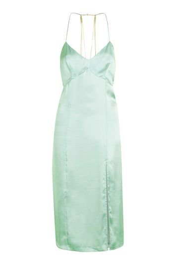 Chain Back Slip Dress - neckline: low v-neck; sleeve style: spaghetti straps; pattern: plain; predominant colour: pistachio; occasions: evening; length: just above the knee; fit: body skimming; style: slip dress; fibres: polyester/polyamide - 100%; sleeve length: sleeveless; texture group: silky - light; pattern type: fabric; trends: fashion girl, pretty girl, metallics; season: a/w 2016; wardrobe: event