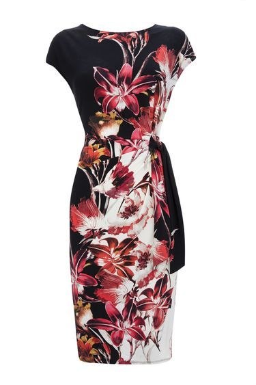 Pink Floral Lily Tie Side Dress - style: shift; neckline: round neck; sleeve style: capped; waist detail: belted waist/tie at waist/drawstring; predominant colour: black; length: just above the knee; fit: body skimming; fibres: polyester/polyamide - stretch; occasions: occasion; sleeve length: short sleeve; pattern type: fabric; pattern: florals; texture group: other - light to midweight; secondary colour: raspberry; season: a/w 2016; wardrobe: event