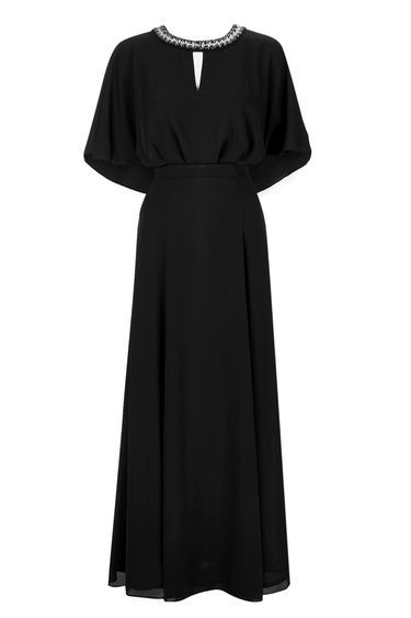Black Embellished Neck Cape Maxi Dress - fit: fitted at waist; pattern: plain; style: maxi dress; predominant colour: black; occasions: evening; length: floor length; neckline: peep hole neckline; fibres: polyester/polyamide - 100%; sleeve style: cape sleeve; sleeve length: half sleeve; texture group: crepes; pattern type: fabric; embellishment: crystals/glass; season: s/s 2016; wardrobe: event; trends: sparkle