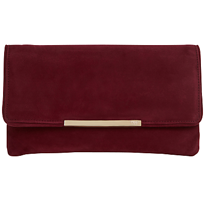 Belma Clutch Bag - predominant colour: burgundy; secondary colour: gold; occasions: evening, occasion; type of pattern: standard; style: clutch; length: hand carry; size: standard; material: leather; pattern: plain; finish: plain; season: s/s 2016; wardrobe: event