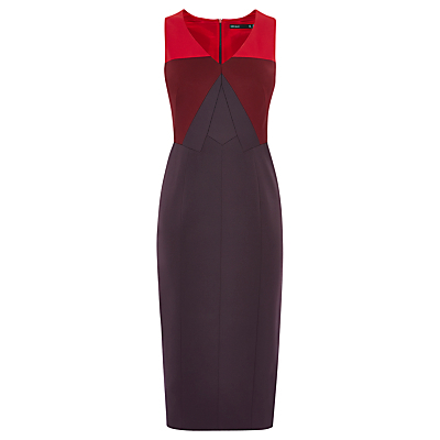 Colourblock Pencil Dress - style: shift; length: below the knee; neckline: low v-neck; fit: tailored/fitted; sleeve style: sleeveless; secondary colour: true red; predominant colour: aubergine; occasions: evening, occasion; fibres: polyester/polyamide - stretch; sleeve length: sleeveless; pattern type: fabric; pattern size: standard; pattern: colourblock; texture group: jersey - stretchy/drapey; multicoloured: multicoloured; season: s/s 2016; wardrobe: event