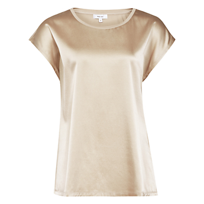 Ki Silk Front T Shirt - neckline: round neck; sleeve style: capped; pattern: plain; style: t-shirt; predominant colour: gold; occasions: casual, creative work; length: standard; fibres: silk - mix; fit: straight cut; sleeve length: short sleeve; texture group: silky - light; pattern type: fabric; season: a/w 2016; wardrobe: highlight