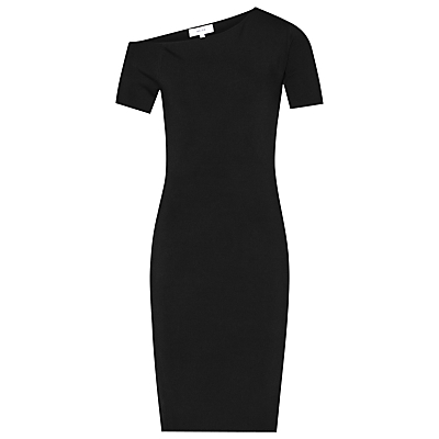 Palmer Shoulder Bodycon Dress - fit: tight; pattern: plain; style: bodycon; neckline: asymmetric; predominant colour: black; occasions: evening; length: on the knee; fibres: viscose/rayon - stretch; sleeve length: short sleeve; sleeve style: standard; texture group: jersey - clingy; pattern type: fabric; season: a/w 2016; wardrobe: event