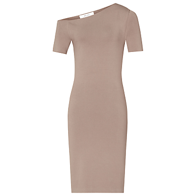 Palmer Shoulder Bodycon Dress - fit: tight; pattern: plain; style: bodycon; neckline: asymmetric; predominant colour: taupe; occasions: evening; length: on the knee; fibres: viscose/rayon - stretch; sleeve length: short sleeve; sleeve style: standard; texture group: jersey - clingy; pattern type: fabric; season: a/w 2016; wardrobe: event