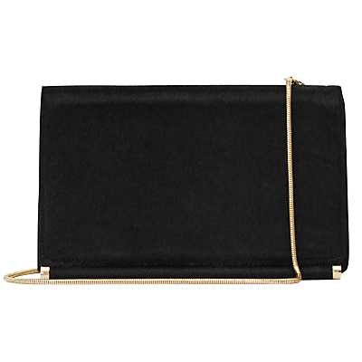 Rosa Medium Leather Shoulder Bag, Black - predominant colour: black; type of pattern: standard; style: shoulder; length: across body/long; size: standard; material: leather; pattern: plain; finish: plain; embellishment: chain/metal; occasions: creative work; wardrobe: investment; season: a/w 2016