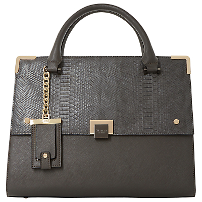Donovan Flap Over Shoulder Bag - predominant colour: charcoal; occasions: work, creative work; type of pattern: standard; style: tote; length: handle; size: standard; material: leather; pattern: plain; finish: plain; season: a/w 2016
