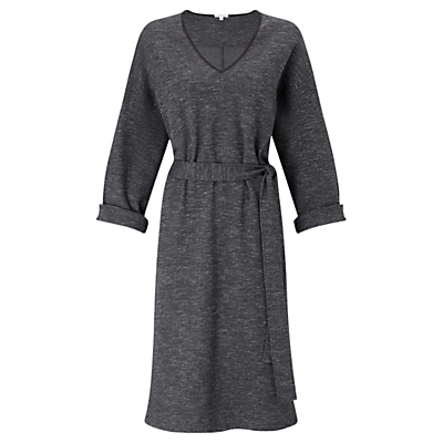 Herringbone Jersey Dress, Charcoal - length: below the knee; neckline: v-neck; waist detail: belted waist/tie at waist/drawstring; predominant colour: charcoal; occasions: casual, creative work; fit: fitted at waist & bust; style: fit & flare; fibres: cotton - stretch; sleeve length: 3/4 length; sleeve style: standard; pattern type: fabric; pattern size: light/subtle; texture group: woven light midweight; pattern: marl; wardrobe: basic; season: a/w 2016