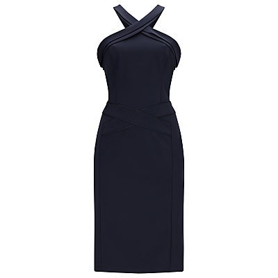 Abia Dress, Midnight Blue - style: shift; fit: tailored/fitted; pattern: plain; sleeve style: sleeveless; predominant colour: navy; occasions: evening, occasion; length: on the knee; fibres: polyester/polyamide - stretch; sleeve length: sleeveless; texture group: crepes; pattern type: fabric; neckline: high halter neck; season: a/w 2016; wardrobe: event
