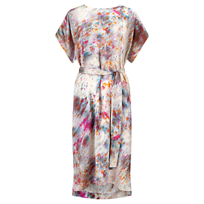 Rainburst Kimono Dress, Multi - style: shift; sleeve style: dolman/batwing; fit: fitted at waist; waist detail: belted waist/tie at waist/drawstring; predominant colour: ivory/cream; secondary colour: hot pink; occasions: evening, creative work; length: on the knee; fibres: silk - 100%; neckline: crew; sleeve length: short sleeve; pattern type: fabric; pattern size: standard; pattern: patterned/print; texture group: woven light midweight; multicoloured: multicoloured; season: a/w 2016; wardrobe: highlight