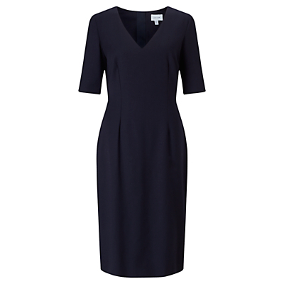 Wool Flannel Tailored Dress, Navy - style: shift; length: below the knee; neckline: v-neck; fit: tailored/fitted; pattern: plain; predominant colour: navy; occasions: work, occasion, creative work; fibres: wool - 100%; sleeve length: half sleeve; sleeve style: standard; pattern type: fabric; texture group: woven light midweight; wardrobe: investment; season: a/w 2016