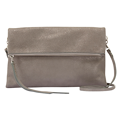 Evie Simple Zip Clutch - predominant colour: mid grey; occasions: casual, creative work; type of pattern: standard; style: clutch; length: hand carry; size: standard; material: leather; pattern: plain; finish: plain; wardrobe: investment; season: a/w 2016