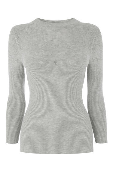 Pointelle Crew Jumper - pattern: plain; neckline: high neck; predominant colour: light grey; occasions: casual; length: standard; style: top; fibres: acrylic - mix; fit: body skimming; sleeve length: 3/4 length; sleeve style: standard; texture group: knits/crochet; pattern type: fabric; wardrobe: basic; season: a/w 2016