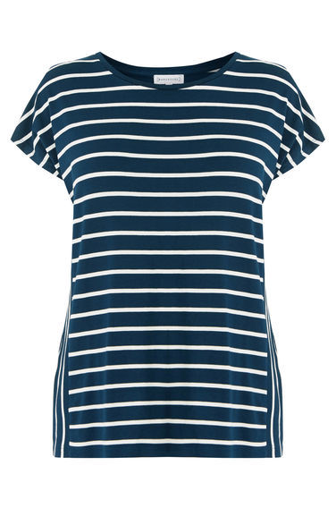 Panel Stripe Tee - pattern: horizontal stripes; style: t-shirt; secondary colour: white; predominant colour: navy; occasions: casual; length: standard; fibres: viscose/rayon - stretch; fit: body skimming; neckline: crew; sleeve length: short sleeve; sleeve style: standard; pattern type: fabric; texture group: jersey - stretchy/drapey; multicoloured: multicoloured; wardrobe: basic; season: a/w 2016