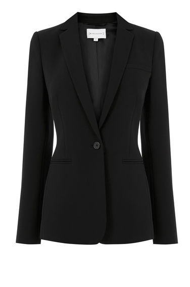 One Button Blazer - pattern: plain; style: single breasted blazer; collar: standard lapel/rever collar; predominant colour: black; occasions: work; length: standard; fit: tailored/fitted; fibres: polyester/polyamide - stretch; sleeve length: long sleeve; sleeve style: standard; collar break: medium; pattern type: fabric; texture group: woven light midweight; wardrobe: investment; season: a/w 2016