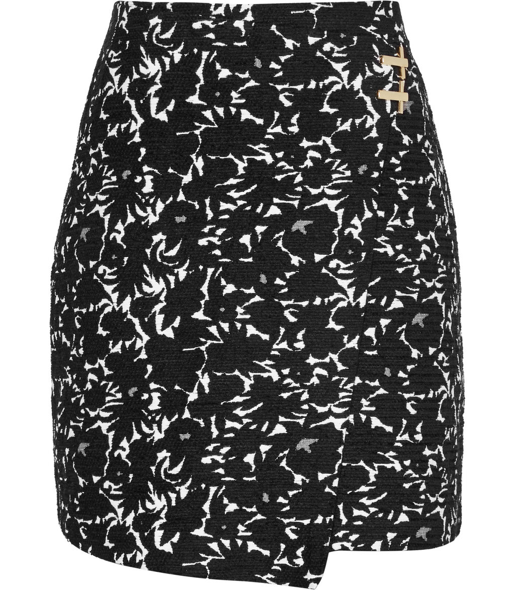 Naomi Womens Jacquard Wrap Skirt In Black - length: mini; style: wrap/faux wrap; fit: body skimming; waist: mid/regular rise; secondary colour: white; predominant colour: black; occasions: casual; pattern type: fabric; pattern: patterned/print; texture group: brocade/jacquard; fibres: viscose/rayon - mix; multicoloured: multicoloured; season: a/w 2016; wardrobe: highlight
