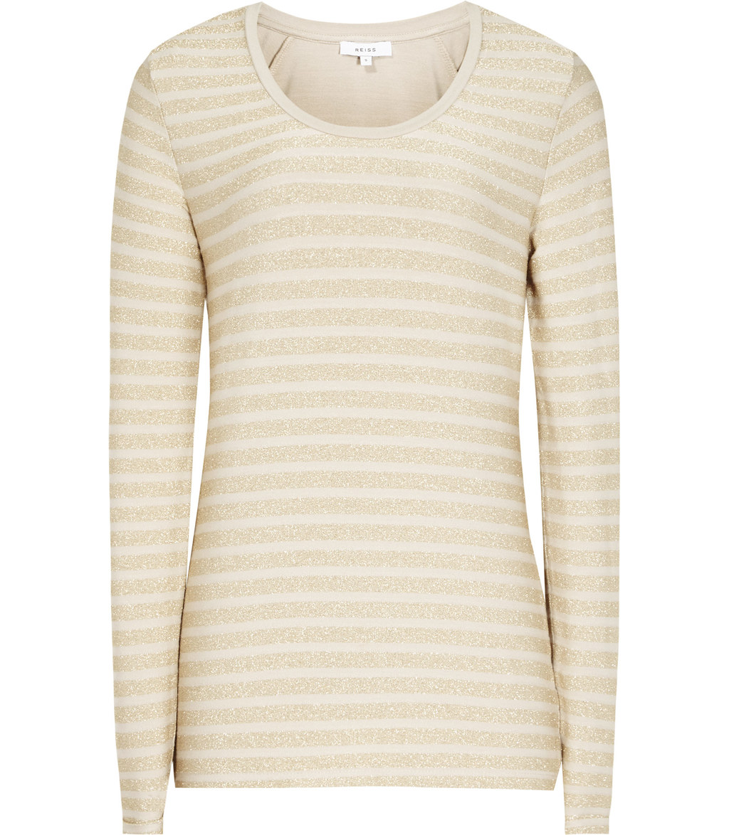 Sail Womens Metallic Striped Top In Yellow - neckline: round neck; pattern: horizontal stripes; style: t-shirt; predominant colour: nude; occasions: casual; length: standard; fibres: viscose/rayon - stretch; fit: body skimming; sleeve length: long sleeve; sleeve style: standard; pattern type: fabric; texture group: jersey - stretchy/drapey; wardrobe: basic; season: a/w 2016