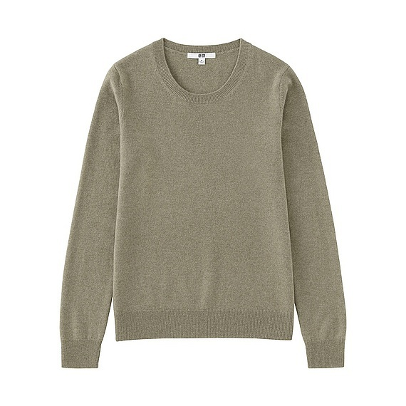 Women 100% Cashmere Crew Neck Sweater Green - pattern: plain; style: standard; predominant colour: khaki; occasions: casual; length: standard; fit: standard fit; neckline: crew; fibres: cashmere - 100%; sleeve length: long sleeve; sleeve style: standard; texture group: knits/crochet; pattern type: knitted - fine stitch; wardrobe: investment; season: a/w 2016