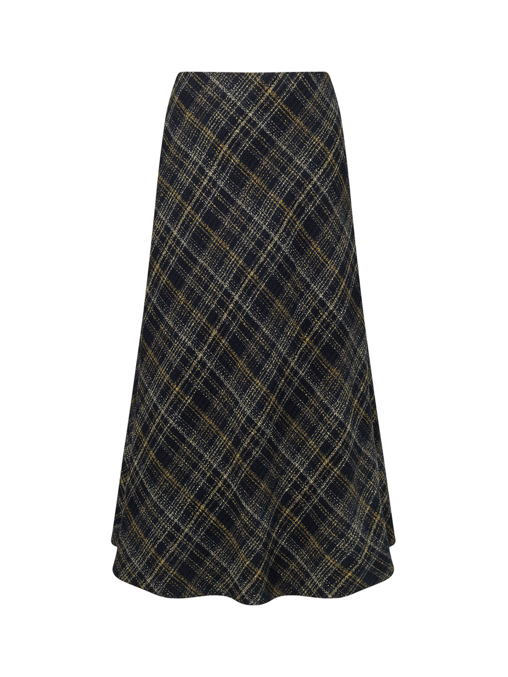 Bias Cut Tweed Skirt - length: calf length; pattern: checked/gingham; fit: loose/voluminous; waist: mid/regular rise; secondary colour: yellow; predominant colour: black; occasions: work, creative work; style: a-line; fibres: acrylic - mix; pattern type: fabric; texture group: woven light midweight; pattern size: standard (bottom); multicoloured: multicoloured; season: a/w 2016