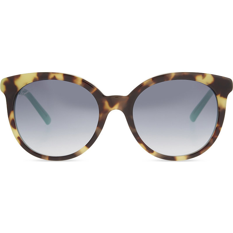 Gg3674 Tortoiseshell Round Frame Sunglasses, Women's, Tortoise Green - predominant colour: gold; occasions: casual, holiday; style: cateye; size: large; material: plastic/rubber; pattern: animal print; finish: plain; season: a/w 2016; wardrobe: highlight