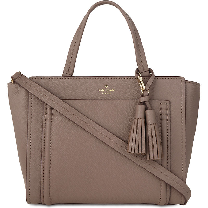 Orchard Street Dillon Pebbled Leather Tote, Women's, Porchini - predominant colour: taupe; occasions: work, creative work; type of pattern: standard; style: tote; length: handle; size: standard; material: leather; embellishment: tassels; pattern: plain; finish: plain; wardrobe: investment; season: a/w 2016