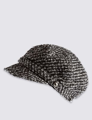 Mono Baker Boy Hat - predominant colour: charcoal; occasions: casual; type of pattern: light; style: bakerboy cap; size: standard; material: fabric; pattern: patterned/print; season: a/w 2016; wardrobe: highlight
