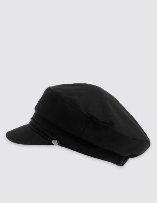 Captains Hat - predominant colour: black; occasions: casual; type of pattern: standard; style: bakerboy cap; size: standard; material: fabric; pattern: plain; season: a/w 2016