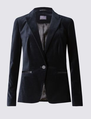 Long Sleeve Velvet Jacket - pattern: plain; style: single breasted blazer; collar: standard lapel/rever collar; hip detail: fitted at hip; predominant colour: black; occasions: evening, creative work; length: standard; fit: tailored/fitted; fibres: cotton - stretch; sleeve length: long sleeve; sleeve style: standard; collar break: medium; pattern type: fabric; texture group: brocade/jacquard; season: a/w 2016