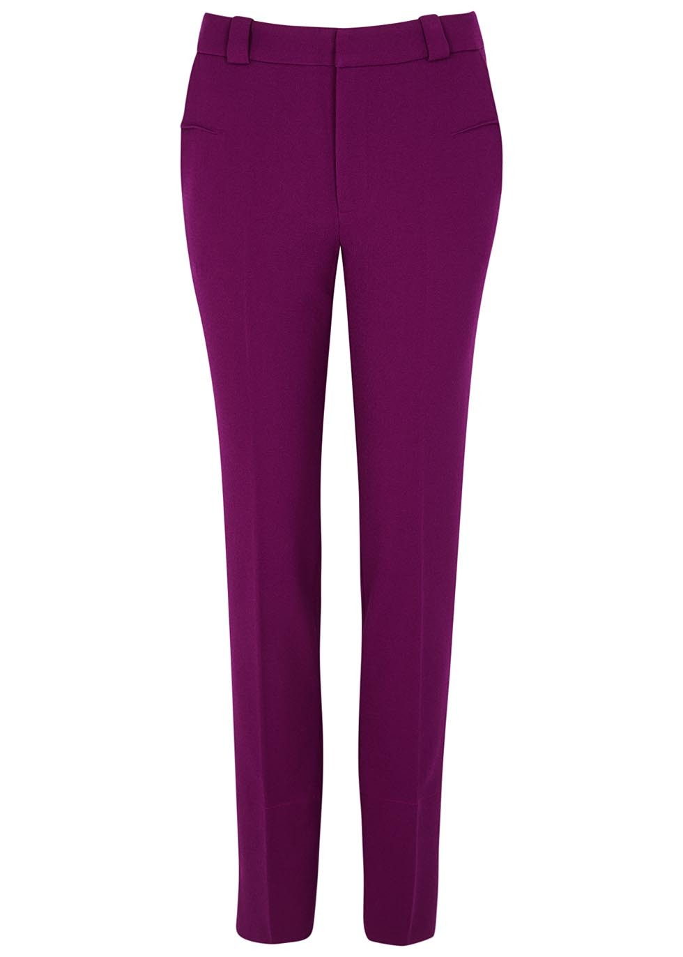 Lacerta Purple Slim Leg Trousers - length: standard; pattern: plain; waist: mid/regular rise; predominant colour: purple; occasions: casual, creative work; fibres: polyester/polyamide - stretch; fit: slim leg; pattern type: fabric; texture group: woven light midweight; style: standard; season: a/w 2016; wardrobe: highlight