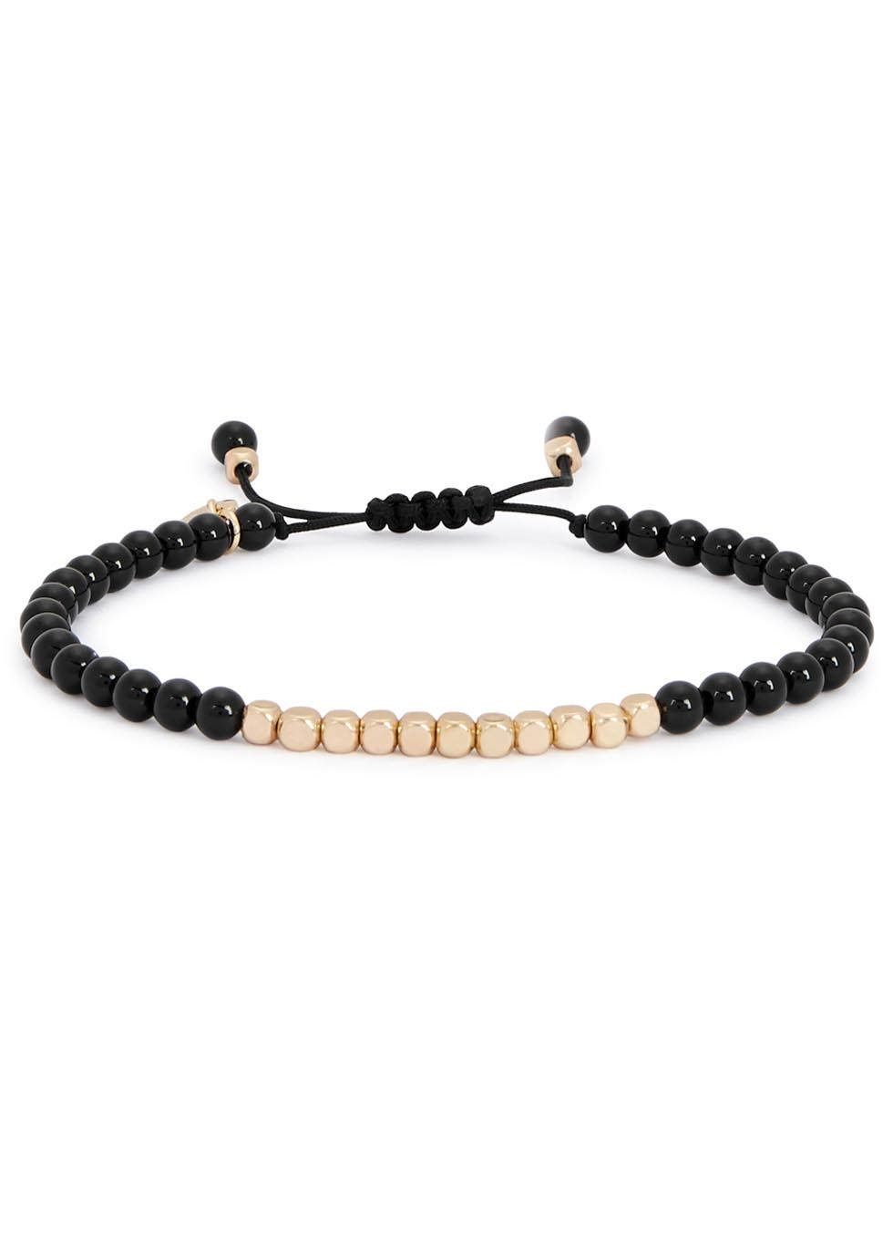 Marylebone Black Agate Beaded Bracelet - predominant colour: black; occasions: casual, creative work; size: standard; material: fabric/cotton; finish: plain; embellishment: beading; style: bead; season: a/w 2016; wardrobe: highlight