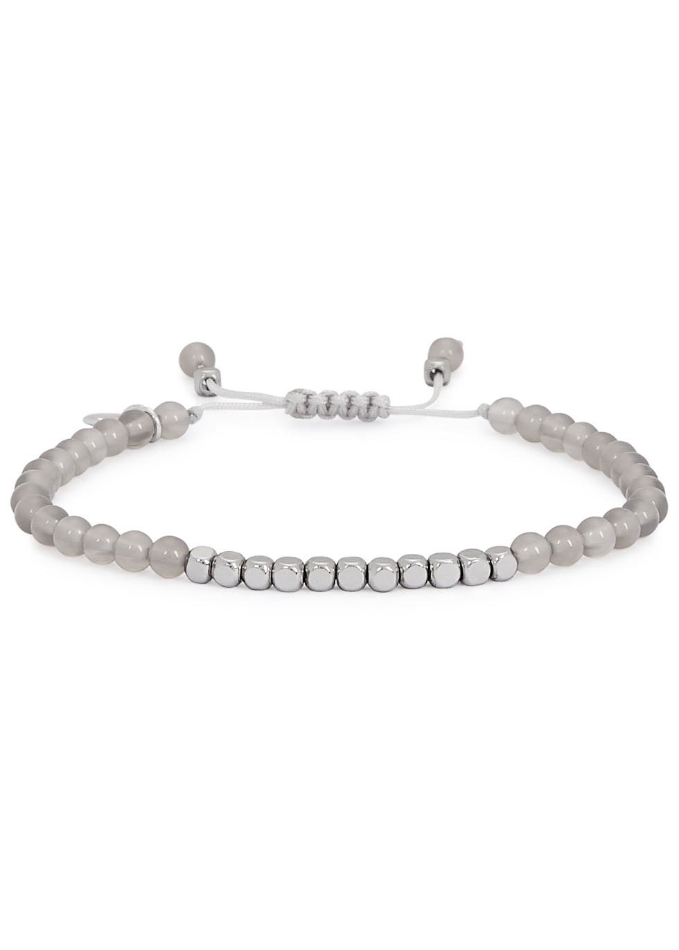 Marylebone Light Grey Quartz Beaded Bracelet - predominant colour: light grey; occasions: casual, creative work; style: friendship/tie; size: standard; material: fabric/cotton; finish: plain; embellishment: beading; season: a/w 2016