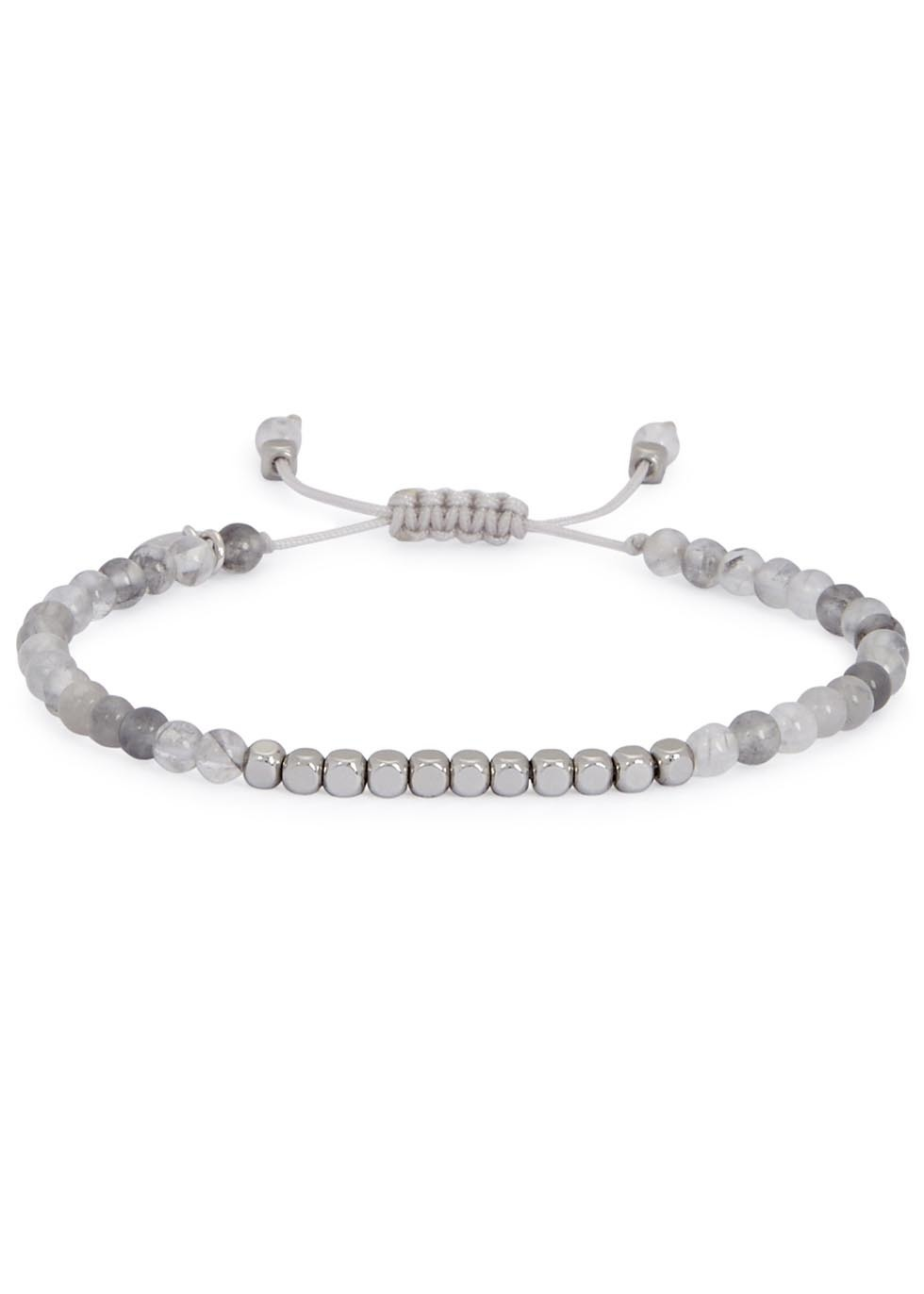 Marylebone Rock Crystal Beaded Bracelet - predominant colour: light grey; occasions: casual, creative work; size: standard; material: fabric/cotton; finish: plain; embellishment: beading; style: bead; season: a/w 2016; wardrobe: highlight