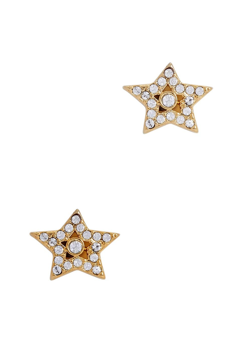 Gold Tone Star Stud Earrings - predominant colour: gold; occasions: casual, evening, creative work; style: stud; length: short; size: small/fine; material: chain/metal; fastening: pierced; finish: metallic; embellishment: crystals/glass; season: a/w 2016