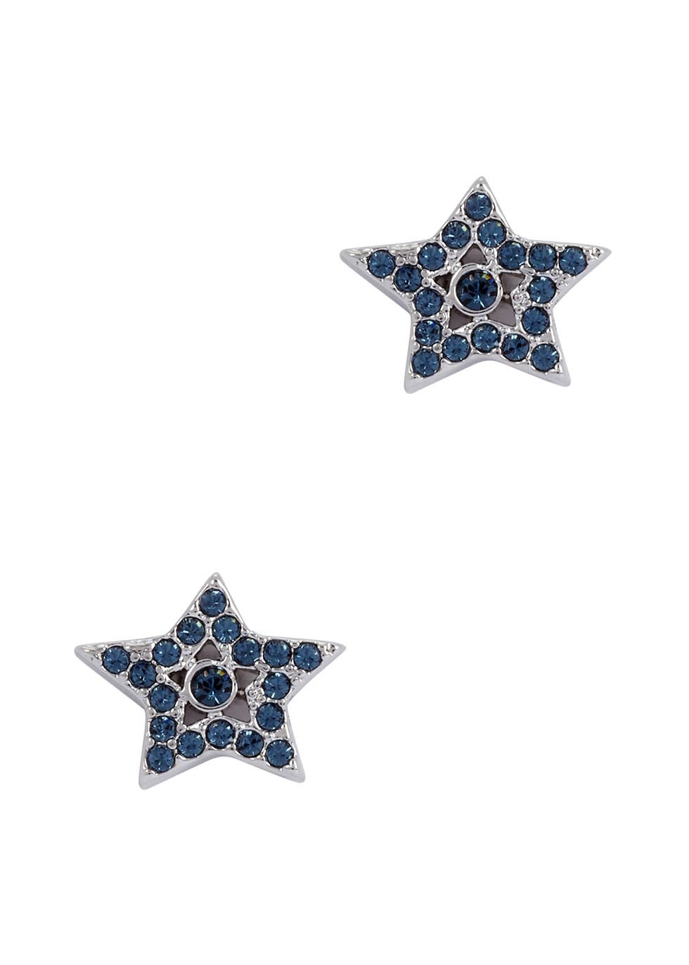 Silver Tone Star Stud Earrings - predominant colour: navy; occasions: casual, evening, creative work; style: stud; length: short; size: small/fine; material: chain/metal; fastening: pierced; finish: plain; embellishment: jewels/stone; season: a/w 2016; wardrobe: highlight