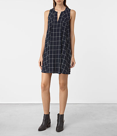 Bea Dress - style: tunic; length: mid thigh; neckline: v-neck; fit: loose; sleeve style: sleeveless; pattern: checked/gingham; secondary colour: white; predominant colour: navy; occasions: casual; fibres: polyester/polyamide - stretch; sleeve length: sleeveless; pattern type: fabric; texture group: other - light to midweight; multicoloured: multicoloured; season: a/w 2016; wardrobe: highlight