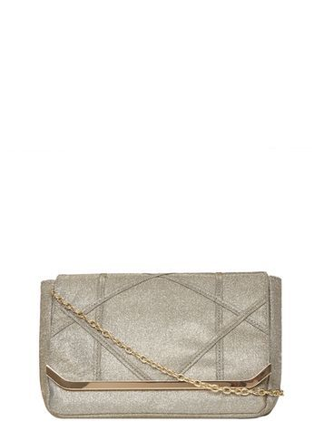 Womens Grey Diamond Pouch Clutch Bag Grey - predominant colour: silver; secondary colour: gold; occasions: evening, occasion; type of pattern: standard; style: clutch; length: across body/long; size: standard; material: faux leather; pattern: plain; finish: metallic; season: a/w 2016; wardrobe: event